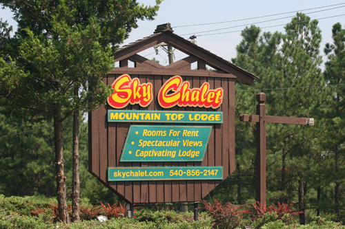 Sky Chalet Mountain Lodge sign in Basye, VA
